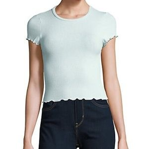 NWOT Design Lab Ribbed Cropped Top - Bleached Blue
